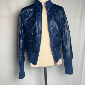 Make an offer! Blue Faux Leather Jacket.- M